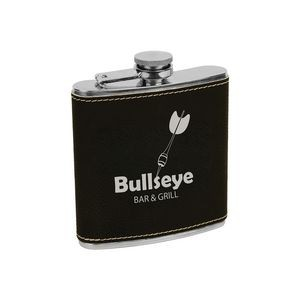 6 oz. Black/Silver Leatherette Stainless Steel Flask
