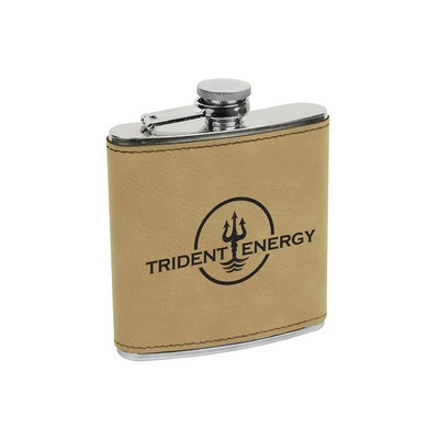 6 oz. Light Brown Leatherette Stainless Steel Flask